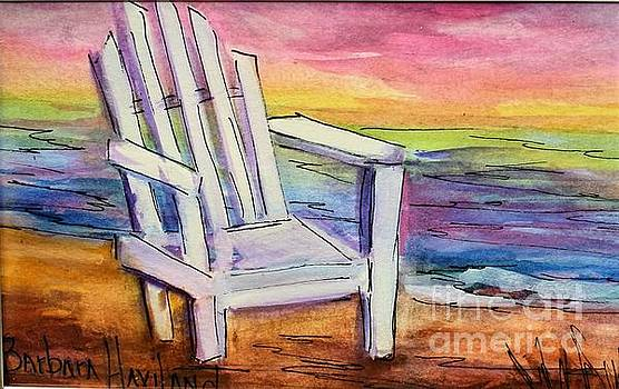 Watercolor White Chair by Barbara Haviland