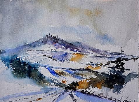 Watercolor winter in Nassogne  by Pol Ledent