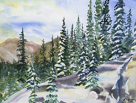 Watercolor - Winter Snow-covered Landscape by Cascade Colors