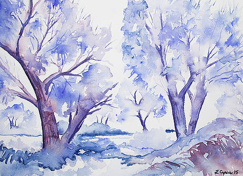 Watercolor - Winter Trees by Cascade Colors