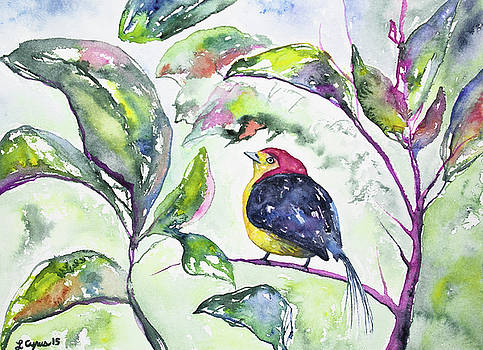 Watercolor - Wire-tailed Manakin in the Rainforest by Cascade Colors