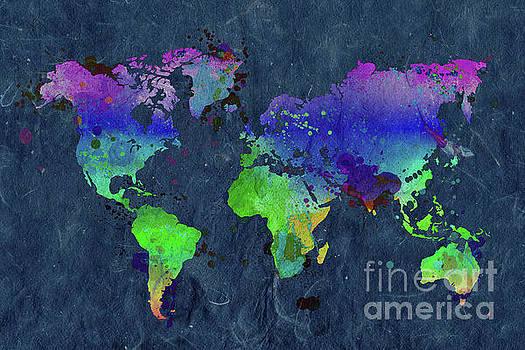 Watercolor world map blue by Delphimages Photo Creations