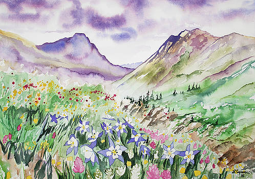 Watercolor - Yankee Boy Basin Landscape by Cascade Colors