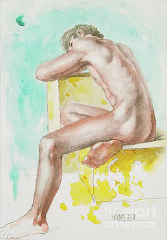 Watercolour Male Nude On Paper#17911 by Hongtao Huang