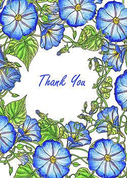 Irina Sztukowski - Watercolour Morning Glory Thank You Card