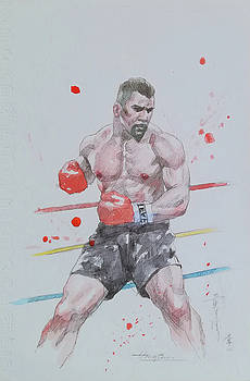 Watercolour painting boxing #18219 by Hongtao Huang