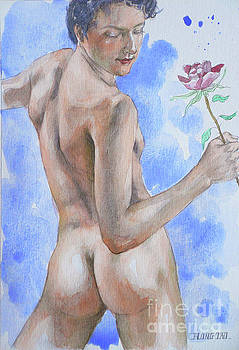 Watercolour Painting Male Nude And Rose #1793 by Hongtao Huang