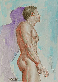 Watercolour painting male nude by wall #17104 by Hongtao Huang