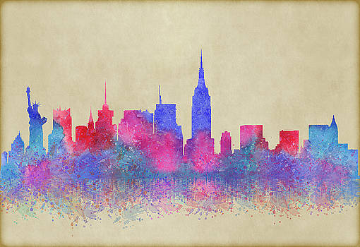 Watercolour Splashes New York City Skylines by Georgeta Blanaru