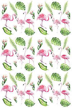 Watercolour Tropical Beauty Flamingo Family by Georgeta Blanaru