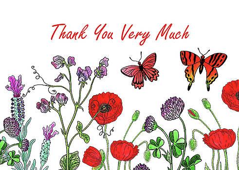 Irina Sztukowski - Watercolour Wildflowers Thank You Card Design