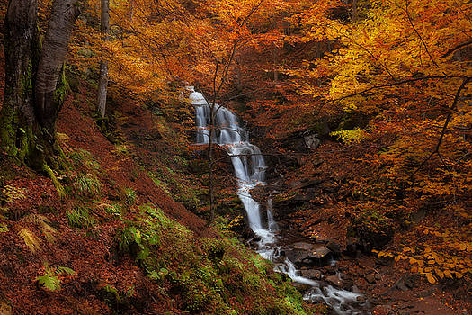 Waterfall at autumn forest by Nickolay Khoroshkov