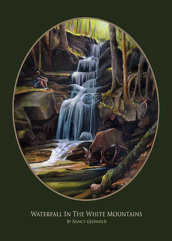Waterfall In The White Mountains Card by Nancy Griswold