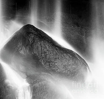 Tim Hester - Waterfall On Rocks At Misol Ha Black and White