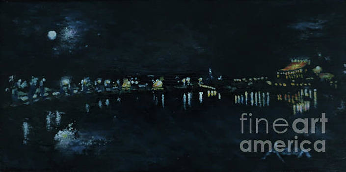 Felipe Adan Lerma - Waterfront Park October Night Painting