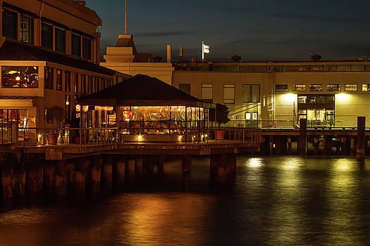 Waterfront Restaurant at Night by Bonnie Follett