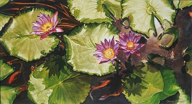 Waterlilies With Goldfish by Cherie Sikking