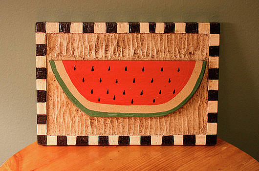Watermelon with Black Checkerboard by James Neill