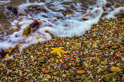 Wave Washing Over Starfish by Garry Gay