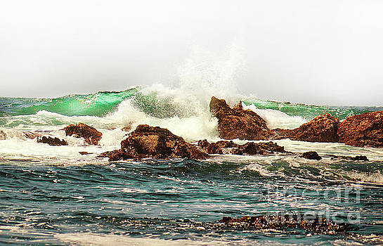 Waves against the Rocks in Pacific Grove California by Artist and Photographer Laura Wrede
