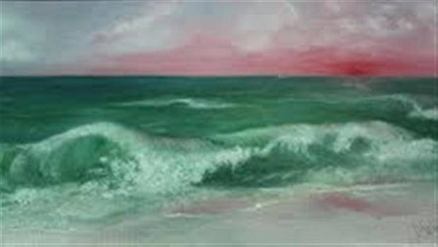 Waves At Sunset by Dixie Hester