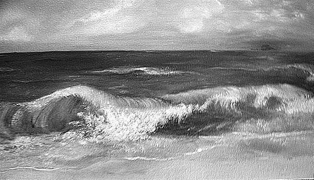 Waves At Sunset in grayscale by Dixie Hester