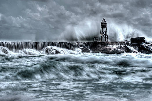 Waves Crashing on Stone Jetty BW by Derek Latta
