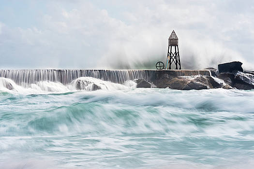 Waves Crashing on Stone Jetty by Derek Latta
