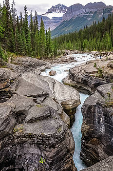 Waves of ... granite at Mistaya Canyon, Canada by Daniela Constantinescu