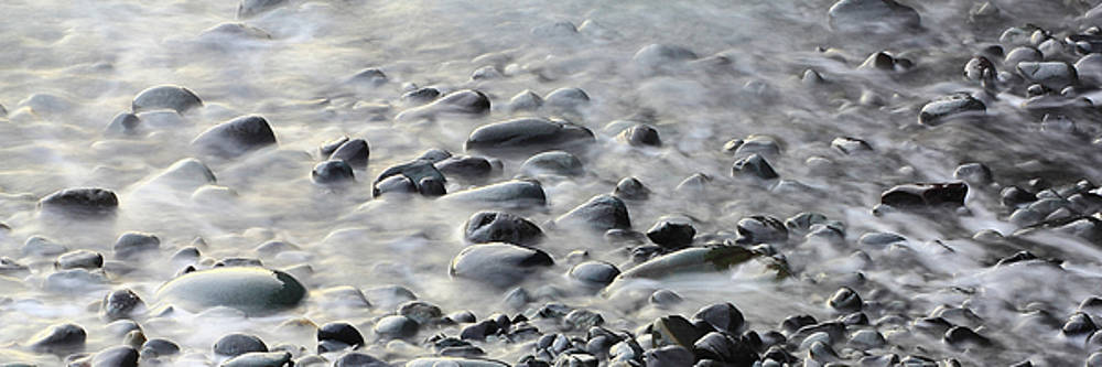Waves on cobble-panoramic by Brian Pflanz