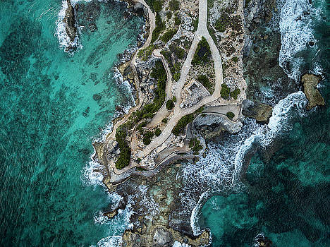 Waves on Punta Sur - Isla Mujeres, Mexico, Aerial View by David Daniel