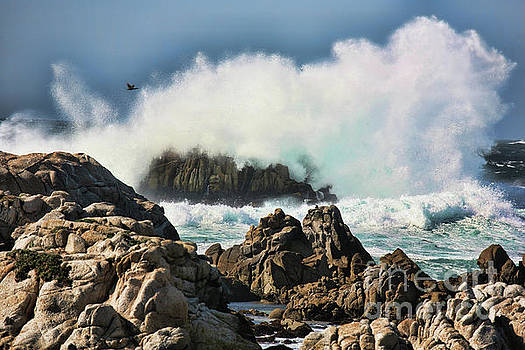 Chuck Kuhn - Waves Pounding Rocks California
