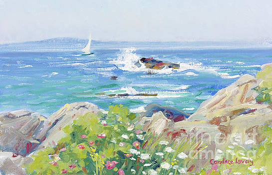 Waves, Rocks and Flowers by Candace Lovely