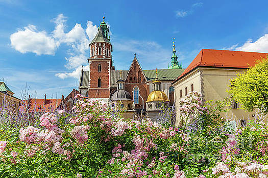 Michal Bednarek - Wawel Cathedral, Cracow, Poland. View from courtyard with flowers.