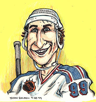 Wayne Gretsky Caricature by John Ashton Golden