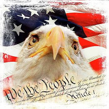 We The People, Eagle and American Flag by Melissa Bittinger