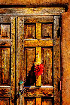 Weathered Door With Chillies by Garry Gay