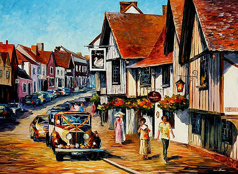 Wedding Day In Lavenham-Suffolk-England - PALETTE KNIFE Oil Painting On Canvas By Leonid Afremov by Leonid Afremov