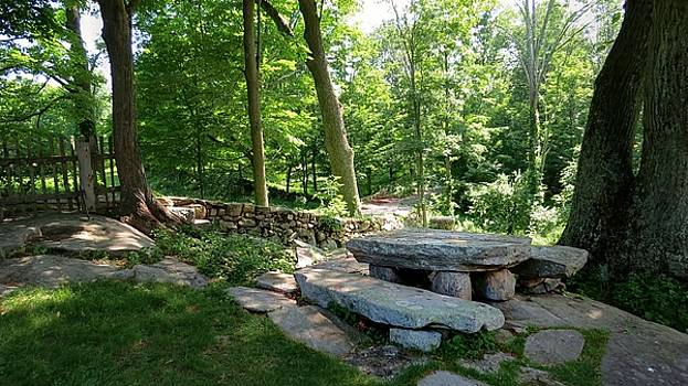 Weir Farm Stone Picnic Table by Jonathan Sabin