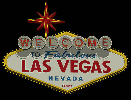 Ricky Barnard - Welcome To Las Vegas Sign Digital Drawing