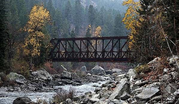 Wenatchee Bridge Digital Painting by Mary Gaines