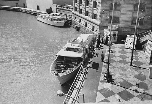 Chicago and North Western Historical Society - Wendella Boat Docked at Michigan Avenue - 1962