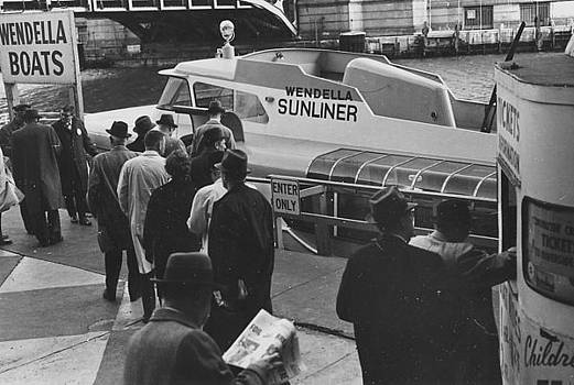 Chicago and North Western Historical Society - Wendella Sunliner at Chicago Passenger Terminal - 1962