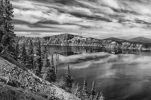 West Rim Of Crater Lake B W by Frank Wilson