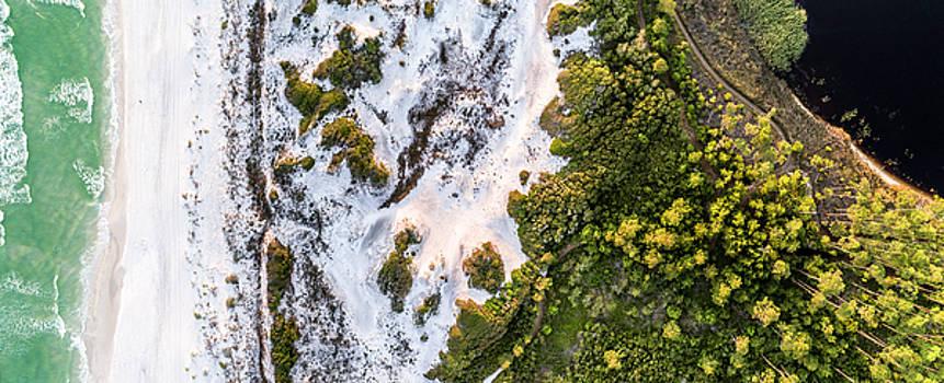 Western Lake Meets the Gulf at Graytom Beach State Park Aerial by Kurt Lischka