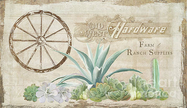 Western Range 4 Old West Desert Cactus Farm Ranch  Wooden Sign Hardware by Audrey Jeanne Roberts