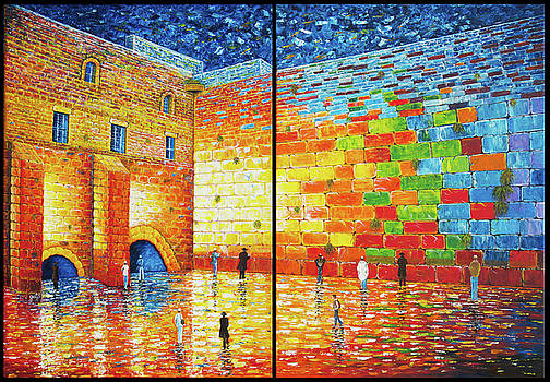 Western Wall Jerusalem Wailing Wall acrylic painting 2 panels by Georgeta Blanaru