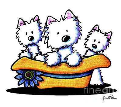 Westie Hat Trio by Kim Niles
