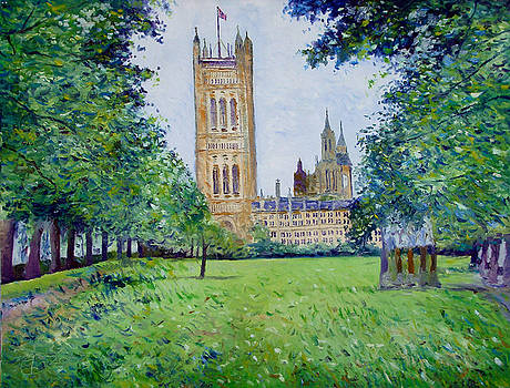 Westminster Abbey from Abbey grounds London England 2003  by Enver Larney