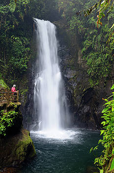 Reimar Gaertner - Wet tourist watching a rainforest waterfall in Costa Rica